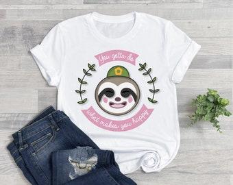 Gotta do what makes you happy - Leif - Animal Crossing Cute Tshirt t-shirt 100% organic cotton gaming gamergirl WOMENS MENS