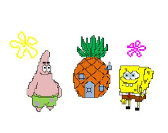 Sponge Bob and Patrick Star cross stitch pattern download | Etsy