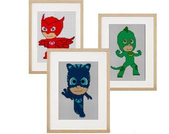 3 heros pj mask (Gekko, Owlette and Catboy) cross stitch pattern (download PDF)