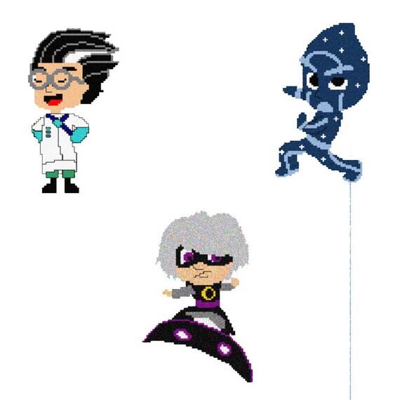 3 antiheros luna girl night ninja and romeo pj mask cross etsy