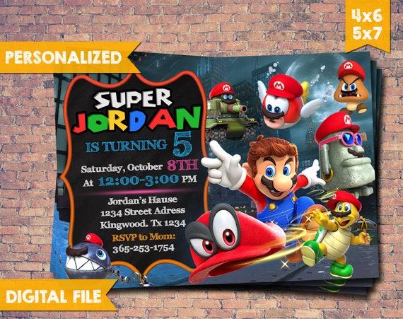 Super Mario Odyssey Invitation Super Mario Invitation Etsy