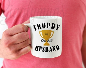 Trophy Husband Coffee Mug Hubby Gift Personalized Christmas Birthday