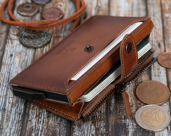 Renna Genuine Leather Mechanical Wallet  | RFID Blocking Wallet | Engraved Personalized Wallet | Minimalist Card Holder And Coin Pocket