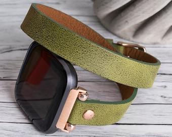 Fitbit Versa 3/Sense/2/Lite Leather Double Wrap Band -  Womens Watch Straps - double Smartwatch Belts – Best Custom Bands/Strap - Gift