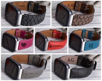 Fitbit Versa 3/Sense/2/Lite Leather Smartwatch Band - Mens & Womens Watch Straps - Modern Smart Watch Belts – Best Custom Bands/Strap - Gift