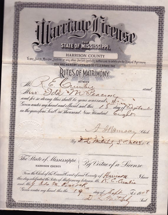 mississippi marriage license 1908 | etsy