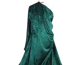 Premium Quality Bottle Green Crushed Velvet Medium Weight 2 Way stretch Fabric Material CV01