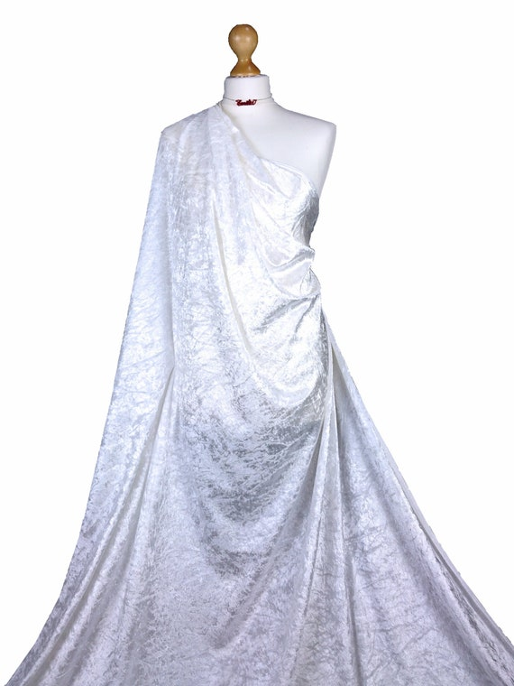 High Quality White Crushed Velvet Velour Stretch Dress-Making Fabric Material