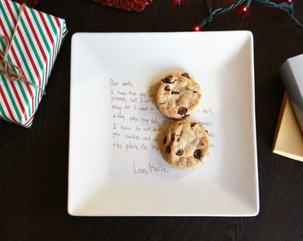 Ceramic Cookie Platter for Santa with Handwritten Letter - Milk and Cookies Christmas Plate - Letter to Santa