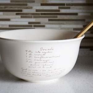 Custom Mixing Bowl with Handwritten Family Recipe - Recipe Dish - Large Ceramic Kitchen Bowl with Custom Recipe - Heirloom Gifts
