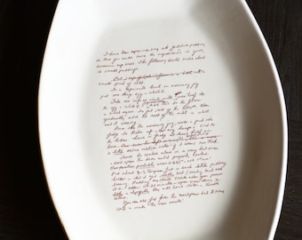 Recipe Platter Recipe Plate - Platter with Family Recipe - Serving Platter - Add Your Own Recipe - Plate Stand Available
