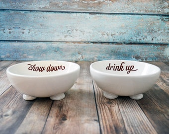 Food and Water Dish Set - Chow Down Drink Up - Small Round Bowls - Pet Gift - Friendship Gift - Footed Bowls - Sturdy Dish- Dog or Cat Dish
