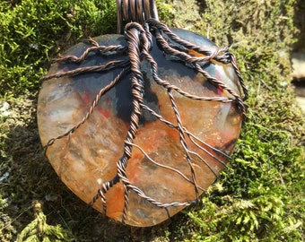 Stunning Blood Orange Agate Beating Heart of Life Sliced on the Bias Geode Pendant Copper Wire Wrap Necklace Jewelry
