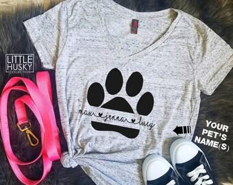 0fc261579 Paw Print Dog Name Shirt Custom to your Pet s Names - Dog Name - Custom Cat  Mom - Gift for Pet Owner - Customize Dog Mom Dog Dag Soft Comfy
