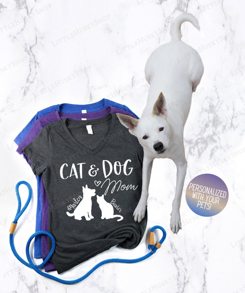 Customized Cat and Dog Shirt Custom Pet Name Pet Owner Shirt Mom of Cats and Dogs Personalized Cat and Dog Mom Shirt with Your Breed