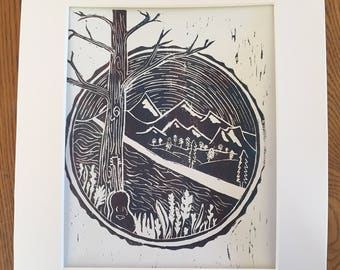 Mountain Scene Linoleum Block Print