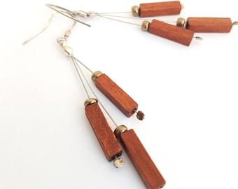 Brown wooden earrings, silver wooden earrings,  lightweight Earrings, dangle earrings, TWOhearts, TWO hearts