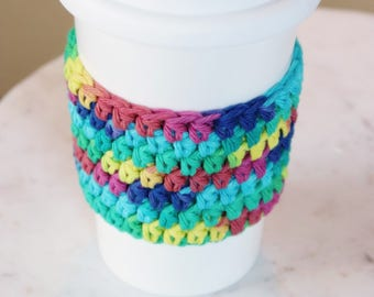 Rainbow Coffee Cup Cozy Coffee Gift Coffee Lover Reusable Coffee Sleeve Crochet Coffee Cozies, Teacher Gift Best Friend Gift Gift for Her