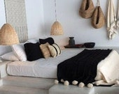moroccan throw blanket, Cotton Moroccan Pompom Blanket,bedroom blanket, moroccan pompom blanket Black with off white pompoms