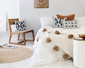 moroccan throw blanket, Cotton Moroccan Pompom Blanket,bedroom blanket, moroccan pompom blanket White with Beige pompoms