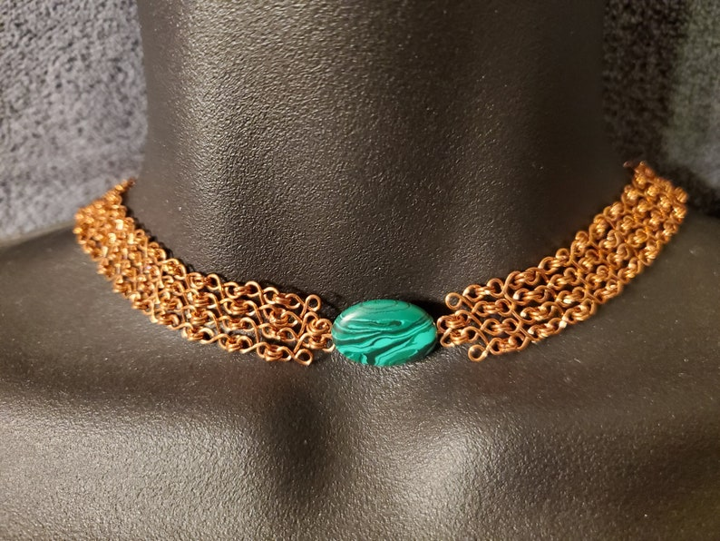 micromaille chainmaille necklace great gift ready to ship Egyptian style collar holiday gift Copper and malachite necklace
