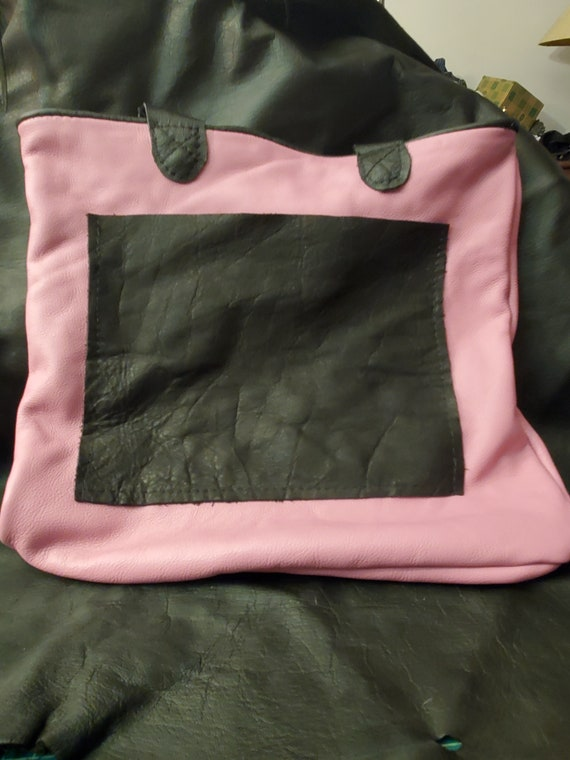 Pink & Black Leather Tote Bag Gift For Women