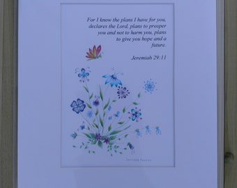 5x7 Matted Scripture Art Jeremiah 29:11
