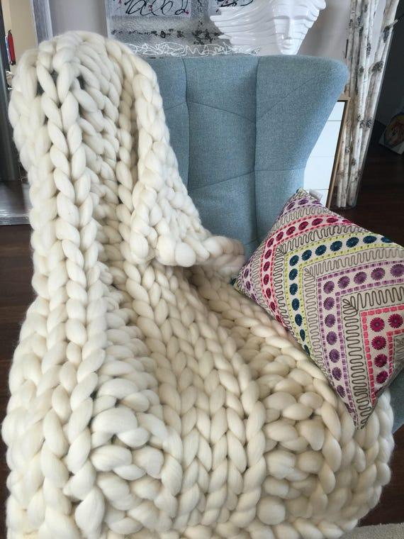 80x140cm Grobstrick blanket.chunky throw.chunky Decke. | Etsy