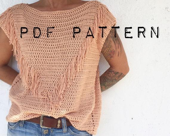 Muster PATRON PDF häkeln Top Muster Fransen Pullover | Etsy