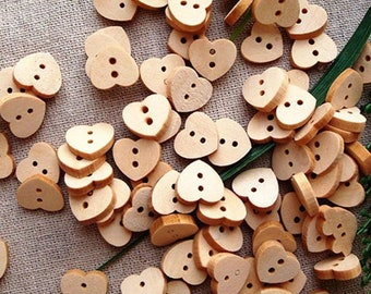 25 x Wood Heart Leaves Buttons ~ Cardmaking Scrapbooking Embellishment Animals