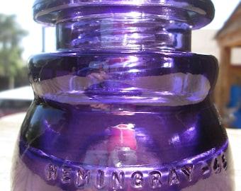 Vintage hemingray 45 CD 155 Glass insulator Colored / Stained  Deep Purple