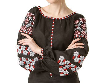 Ukrainian embroidered women's blouse. Ethnic sorochka Black linen.Traditional Embroidered Women's Blouse in Ukrainian style