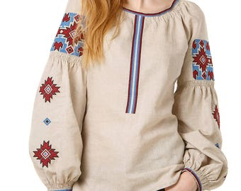 Ukrainian embroidered women's blouse. Ethnic sorochka Gray linen.Traditional Embroidered Women's Blouse in Ukrainian style