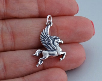 Soaring Pegasus over Panther Tibetan Repousse Silver Pendant 4MM Italian Snake Chain N369