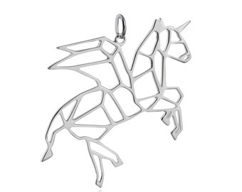 925 Sterling Silver Outline Pegasus Origami Pegacorn Winged Unicorn Necklace