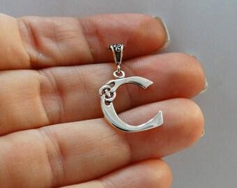 Initial Monogram Irish NEW Letter J Celtic Knot Pendant 925 Sterling Silver