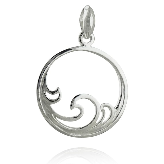Solid 925 Sterling Silver Dolphins Pendant Charm 28mm x 20mm