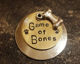 Game of Bones - game of thrones themed hand stamped dog tag pet tag