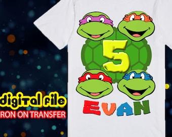 Iron On TMNT Birthday Shirt, Ninja Turtle Iron On Transfer, Ninja Turtle Birthday Boy Iron On Transfer, Personalize
