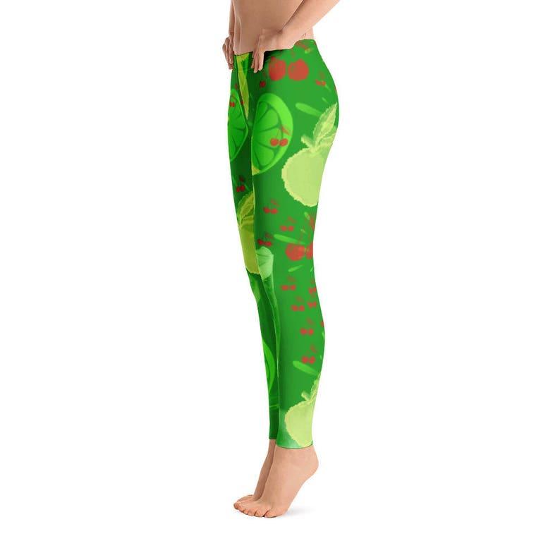 26a37a494cf16 Green Apple Leggings Lemon Leggings Cherry Pants Yoga Pants | Etsy