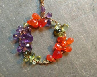 Carnelian, Amethyst and Peridot necklace