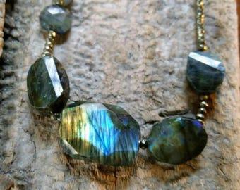 Fantastic labradorite and Pyrite necklace