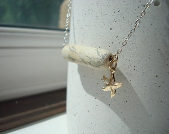 Broken clay pipe stem pendant sterling silver necklace starfish charm from river Thames mudlark mudlarking London