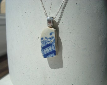 Blue and white pottery pendant sherd silver necklace from Thames mudlark mudlarking London