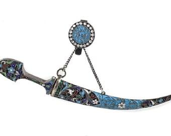 Russian 84 Silver & Enamel Dagger