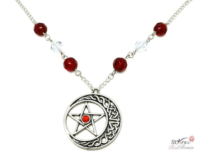 Moonstar Pentagram Silver Charm Necklace / Pagan Jewelry Gothic Jewelry /  Witch Jewelry Statement Jewelry Glass Beads Halloween Gift for Her