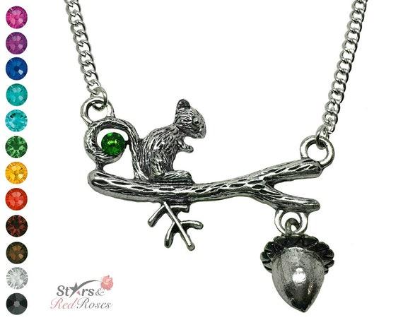 Wildlife Gift Silver Tone Cute Squirrel Necklace