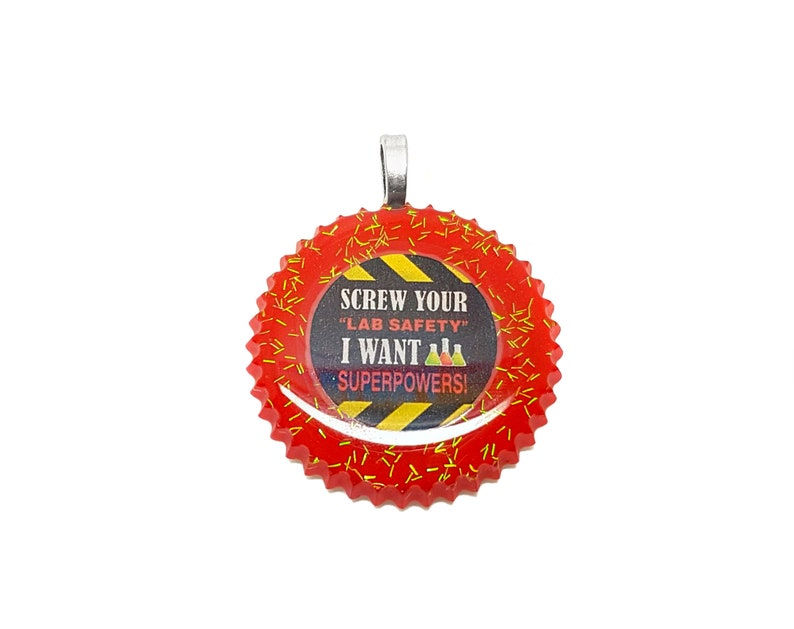 Super Powers Funny Superhero / Accident Warning Sign Lab Safety Screw /  Resin Pendant Necklace Bag Charm Keyring Jewellery