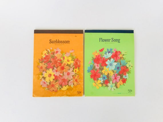 Two Vintage Westab Note Pads Sunblossom And Flower Song Etsy