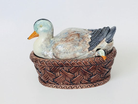 Vintage Duck Terrine with Baby Duck Ladle Made in Portugal Small Ceramic Covered Dish Hand Painted Three Piece Set